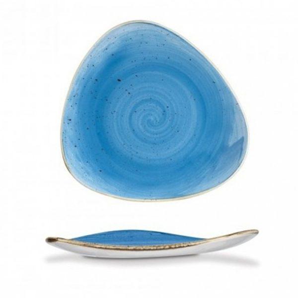 Piatto Piano Triangolare Blu 31 cm Stonecast Churchill GMA vetri e porcellane