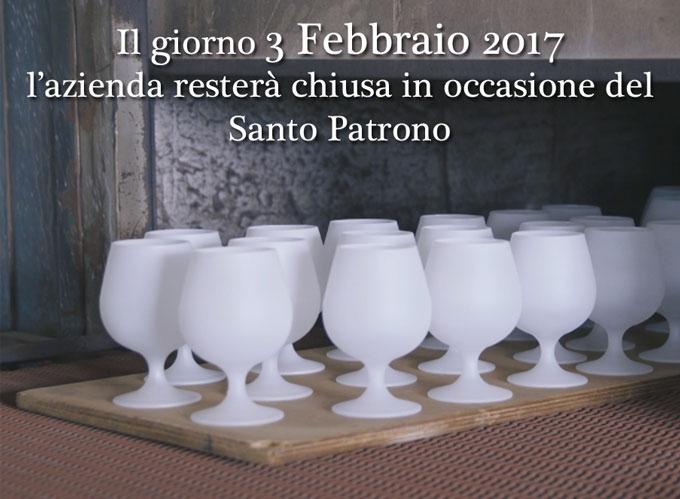 L'azienda sara chiusa il 13 febbraio per il santo patrono