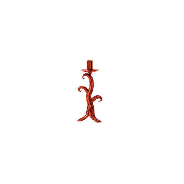 Candeliere Vetro Albero Rosso 1 Fiamma 24 cm