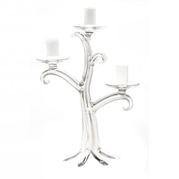 Candeliere Vetro Albero Trasparente 3 Fiamme 31 cm