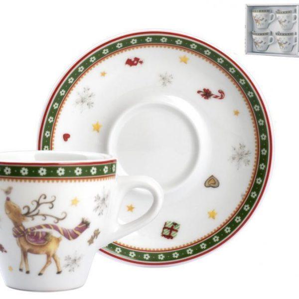 Set 4 Tazze Caffè Dolce Natale