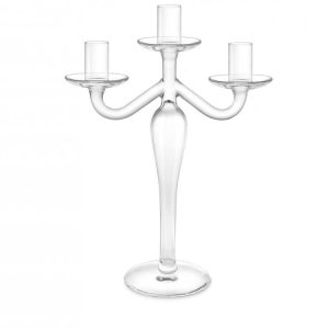 Candeliere Vetro Trasparente 3 Fiamme 31 cm