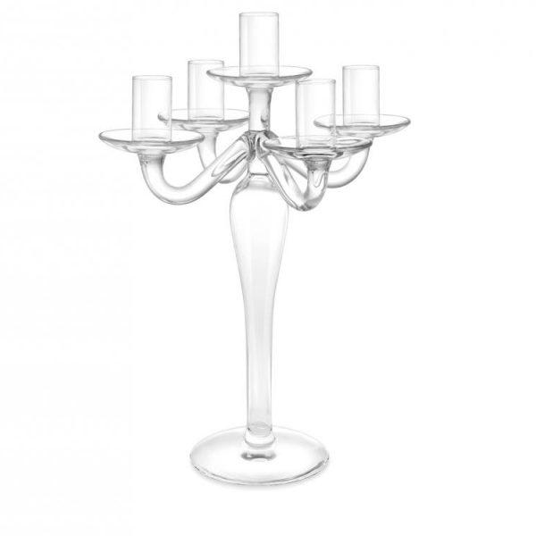 Candeliere Vetro Trasparente 5 Fiamme 31 cm