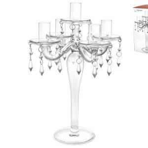 Candeliere Vetro 5 Fiamme con Strass 31 cm