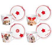 Tazze Natale Tè con Cani Home in Rombo GMA serigrafia su vetro