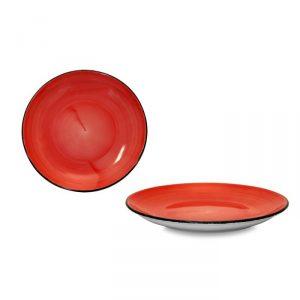 Piatto Piano Brush rosso corallo 21 cm Le Nuveau Coq GMA serigrafia su vetro
