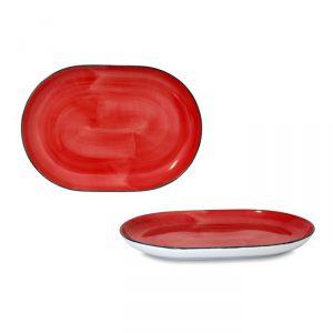 Vassoio Ovale Brush Rosso Corallo 33 cm Le Nouveau Coq GMA serigrafia