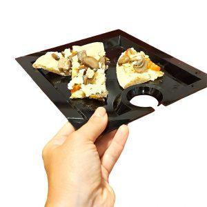 Piatto Aperitivo Rettangolare 20x23 cm Nero per buffet GMA serigrafia su vetro
