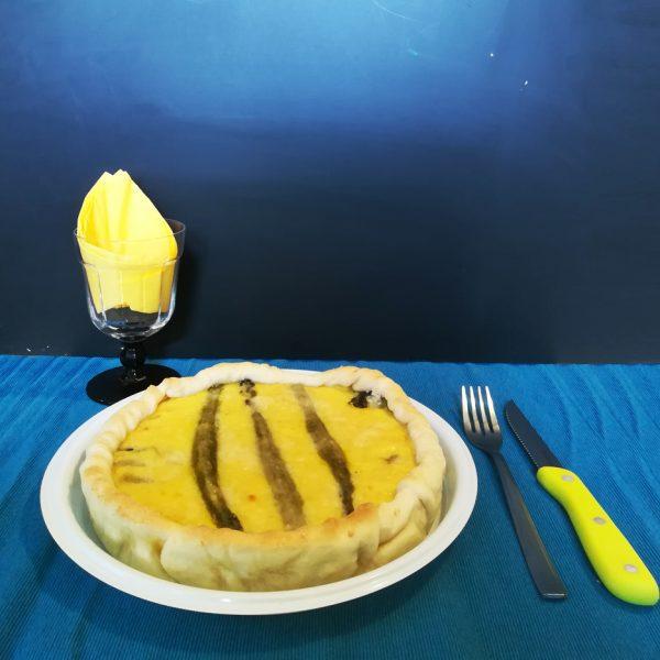 Piatto per consegne bianco 26 cm per torta salata con formaggio e asparagi GMA serigrafia