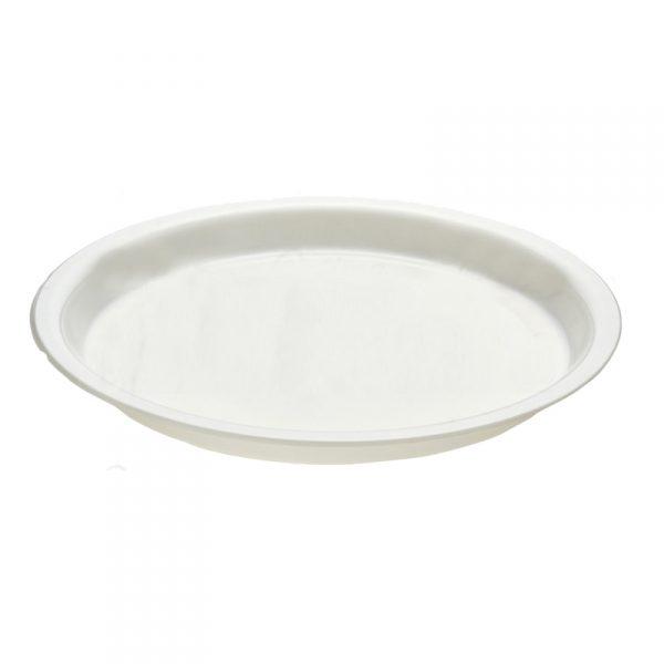 Piatto di plastica bianco 26 cm per consegne e asporto GMA