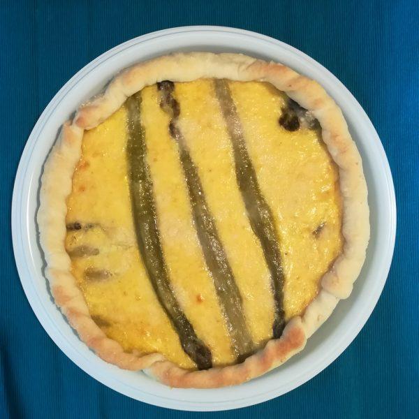 Piatto di plastica bianco 26 cm per asporto torta salata con formaggio e asparagi GMA serigrafia