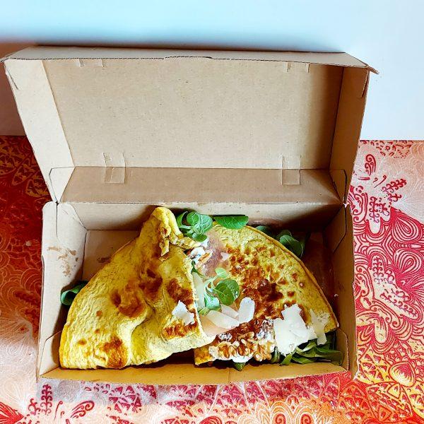 Scatola con coperchio Avana per delivery 20,5×10,7 cm GMA serigrafia