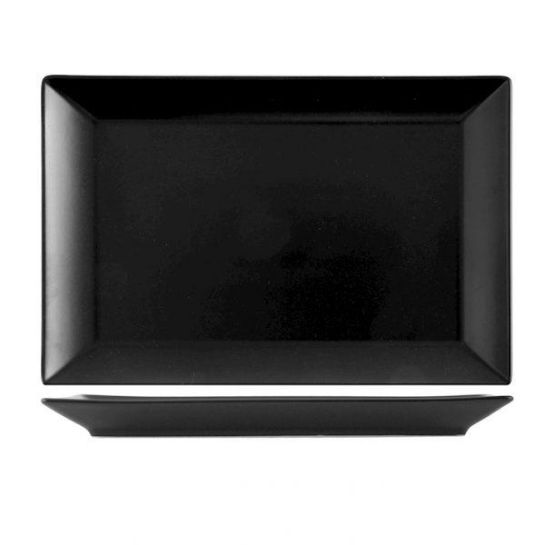 Piatto nero Osaka 30×8 cm porcellana H&H GMA serigrafia personalizzazione vetro