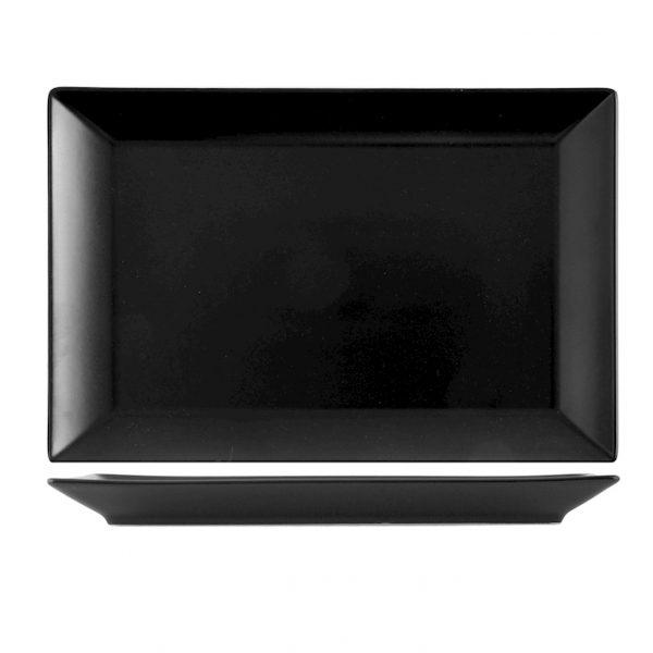 Piatto nero Osaka 34×22 cm porcellana H&H GMA serigrafia VR