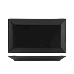 Piatto nero Osaka 25x15 cm porcellana H&H GMA personalizzazioni