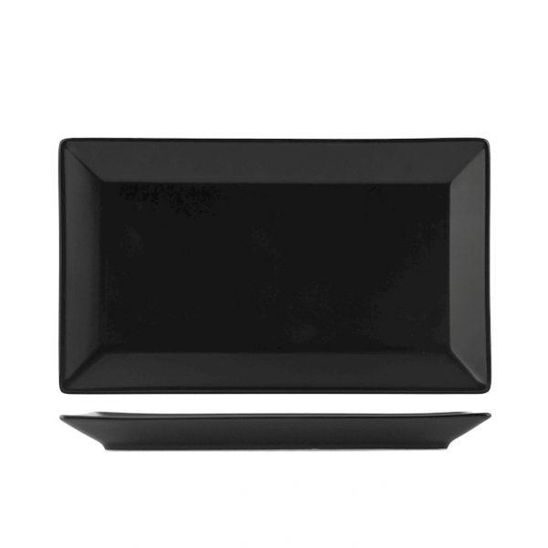 Piatto nero Osaka 25×15 cm porcellana H&H GMA personalizzazioni