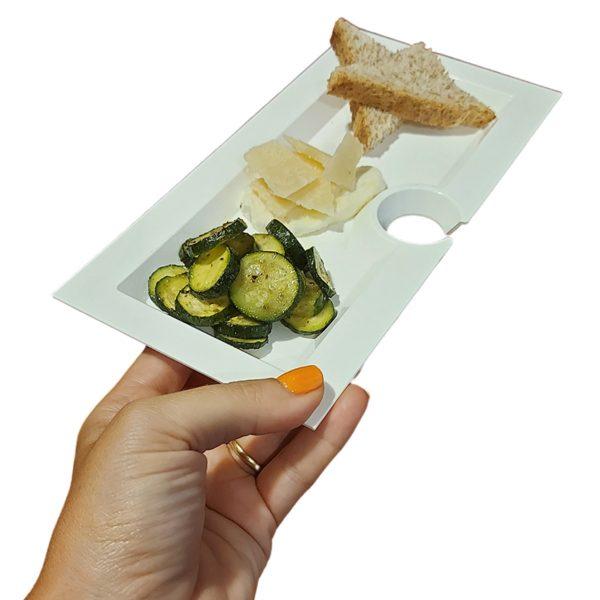 Piatto Aperitivo Rettangolare 23×11 cm Bianco per catering GMA serigrafia