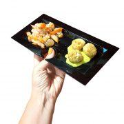 Piatto Aperitivo Rettangolare 23×11 cm Nero per buffet GMA serigrafia