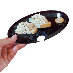 Piatto Aperitivo 20x15 cm nero buffet GMA serigrafia personalizzazione vetro