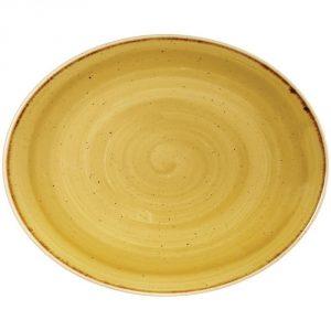 Vassoio Ovale Giallo Stonecast Churchill GMA serigrafia porcellana