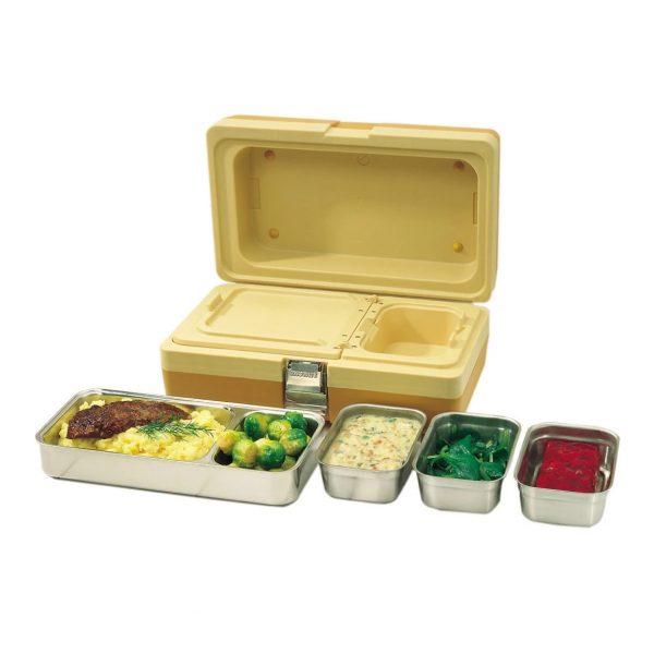Vaschetta inox biscomparto per contenitore DUO Menut GMA serigrafia delivery e asporto