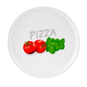 Piatto Pizza Decorato Basilico 33 cm