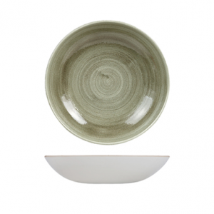 Piatto Fondo Coupe Verde Striato 24,8 cm Stonecast Churchill